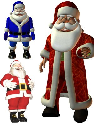 Selection of 3D images of Santa Claus