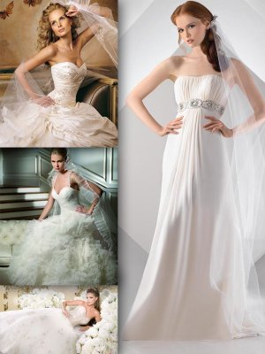 White wedding and evening dresses