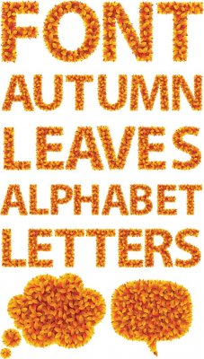 Alphabet: Autumn Leaves (transparent background)