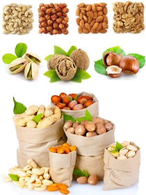 Nuts (large collection), walnut, coconut, wood, hazelnuts, cashews, almonds, etc.