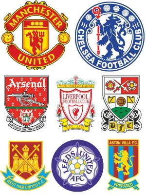 Logos and emblems of football teams in England (vector)