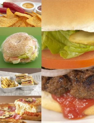 Fast food: burgers, sandwiches, pizza, cereal, french fries, etc.