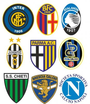 Logos and emblems football teams Italy (vector)