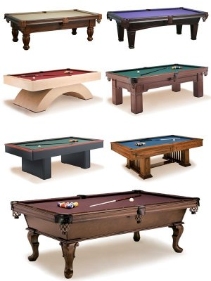 Large collection of billiard tables
