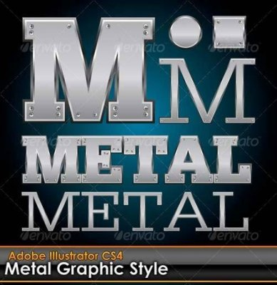 Metal Plate Illustrator Graphic Style with Bolts