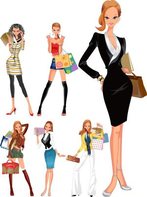 Girl in different clothes: a selection vector
