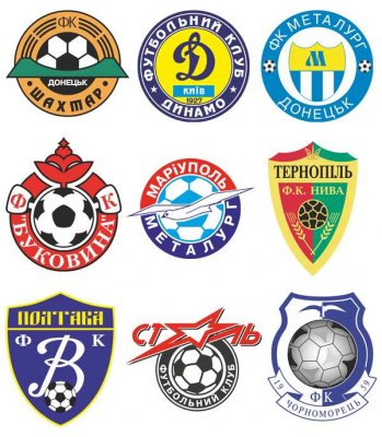 Logos and emblems football teams of Ukraine (vector)