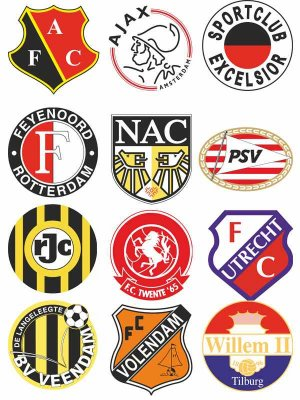 Logos and emblems football teams of the Netherlands (vector)