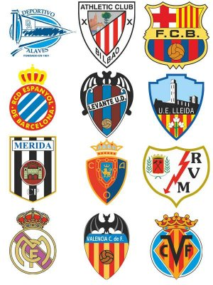 Logos and emblems football teams in Spain (vector)