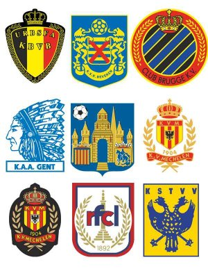 Logos and emblems football teams Belgium (vector)