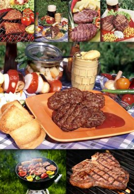 Juicy steak and grilled meat (photo)
