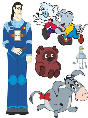Selection of Soviet cartoons characters (vector drawing)