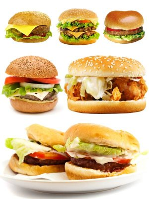 Fast food: Hamburger and cheeseburger (Graphics on white background)