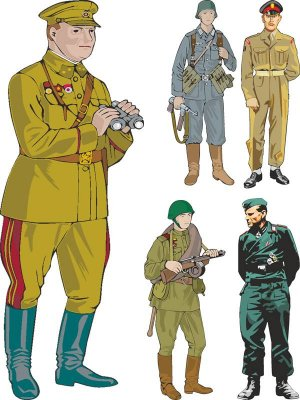 Soldiers and officers of the Second World War (vector)