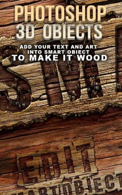 Photoshop 3D wood text