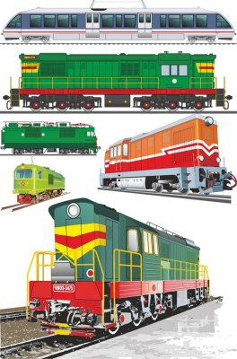 Locomotives and trains (vector drawing)