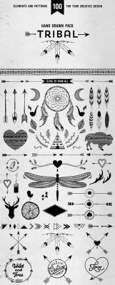 Hand drawn tribal design vector pack