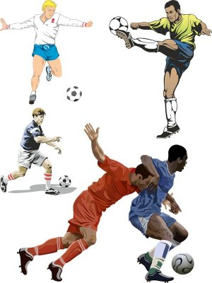 Football players and football vector selection