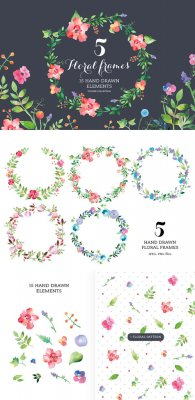 Set of watercolour Floral Frames