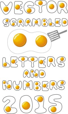Russian and English alphabet vector: Scrambled eggs (letters and numbers)