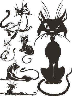 Cats black and white (selection Clipart)
