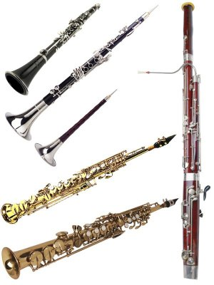 Wind Instruments: Bassoon, Clarinet, Oboe (clipart)