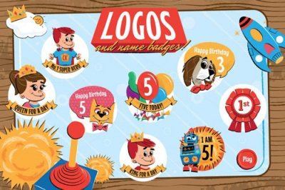 Children's logos and name badges