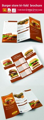 Burger store trifold brochure