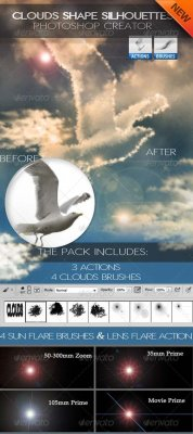 Cloud Shapes and Brushes Photoshop Creator