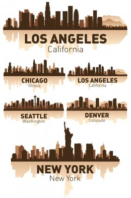 US cities (silhouettes vector)