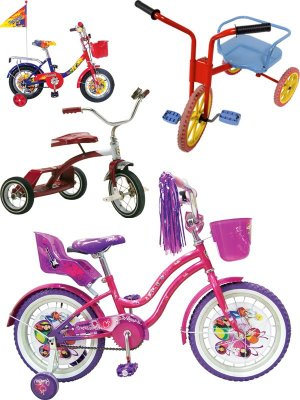 Children's bicycle, tricycle (collection of images)