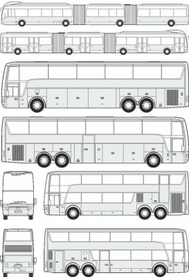 Buses Van Hool - vector drawing to scale