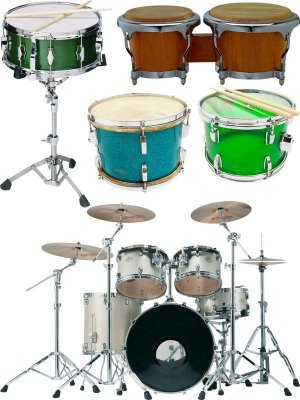 Percussion instruments: drums, drum set, drum sticks