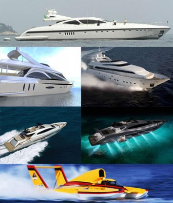 Modern yachts and boats