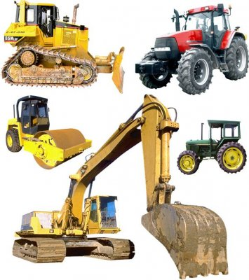 Heavy Equipment on a transparent background (special and agricultural)