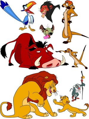 "The characters of the cartoon ""The Lion King"" (vector drawing)"