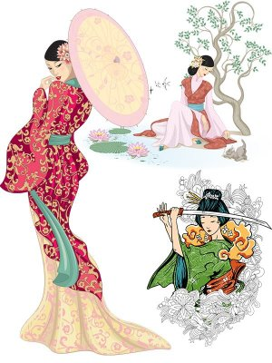 Drawn oriental women (transparent background)