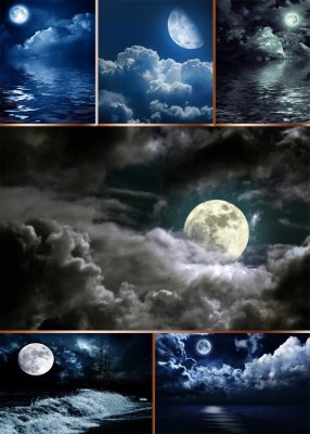 Night, the night sky and the moon (the images)