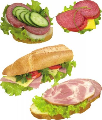 Photo stock: Sandwich with ham and sausage